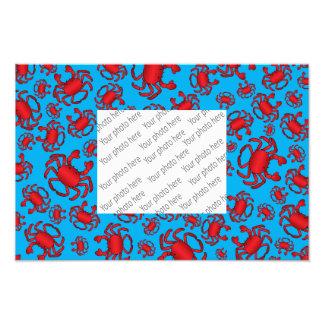 Sky blue crab pattern photo print