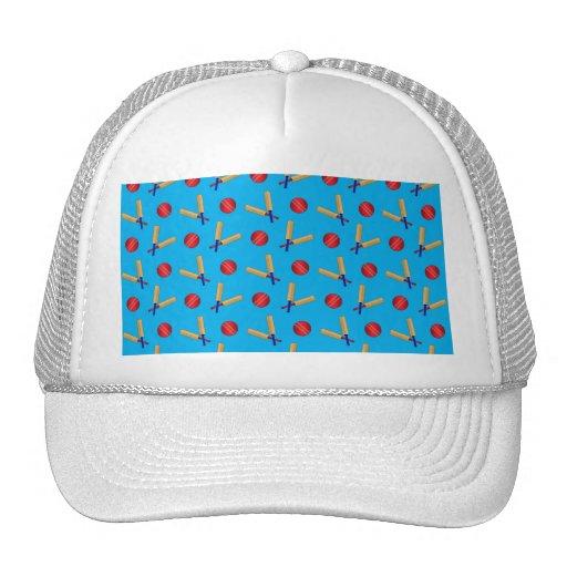 Sky blue cricket pattern mesh hat