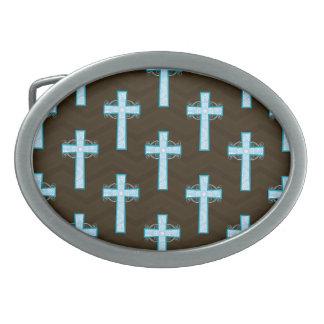 Sky Blue Cross on Brown Chevron Oval Belt Buckles