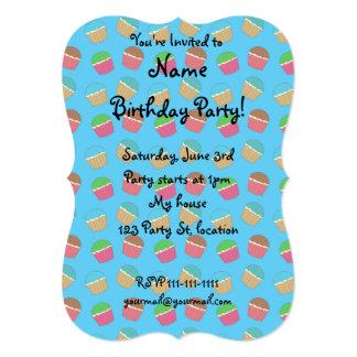 Sky blue cupcake pattern 13 cm x 18 cm invitation card