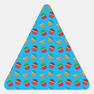 Sky blue cupcake pattern triangle sticker