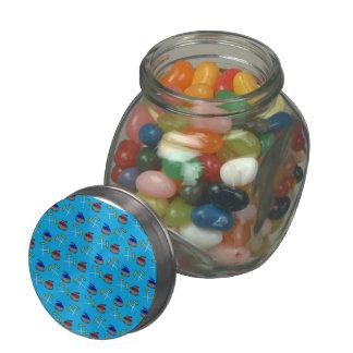 sky blue curling pattern glass jar