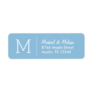 Sky Blue Custom Monogram Return Address Label