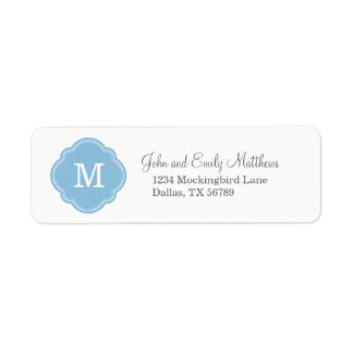 Sky Blue Custom Personalized Monogram Return Address Label