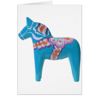 Sky Blue Dala Horse Card