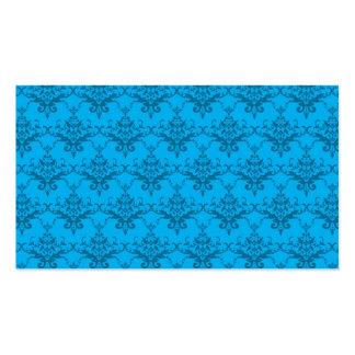 Sky blue damask pattern business cards