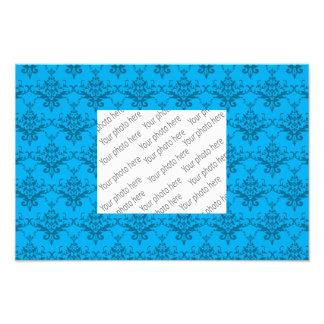 Sky blue damask pattern photographic print