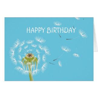 Sky Blue dandelion floral nature Greeting Card