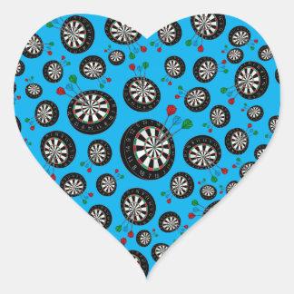 Sky blue dartboard pattern heart sticker