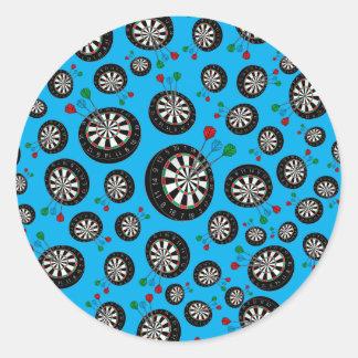 Sky blue dartboard pattern round sticker