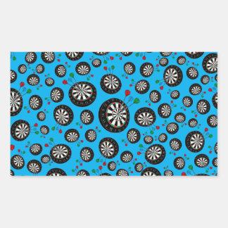 Sky blue dartboard pattern rectangle stickers