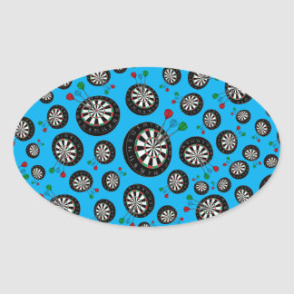 Sky blue dartboard pattern oval sticker