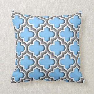 Sky Blue Dk Gray White Moroccan Quatrefoil #5DS Throw Pillow