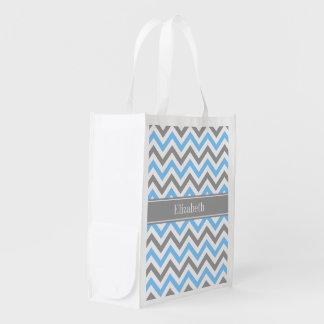 Sky Blue Dk Gray Wht LG Chevron Gray Name Monogram Reusable Grocery Bag