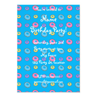 Sky blue donut pattern 13 cm x 18 cm invitation card
