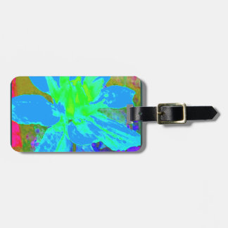 Sky Blue  Floral Dahlia Flower Pattern Luggage Tag