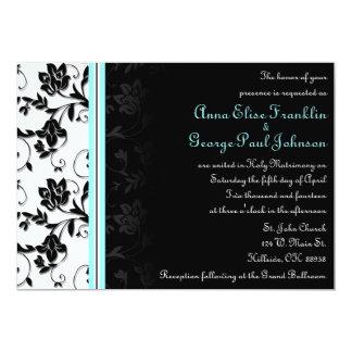 Sky Blue Floral Vintage Wedding Invitation
