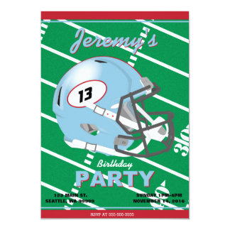 Sky Blue Football Party Invitation - Editable