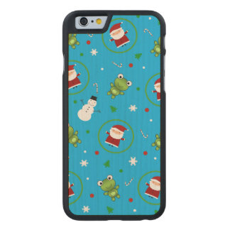 Sky blue frogs santa claus snowman pattern carved® maple iPhone 6 slim case