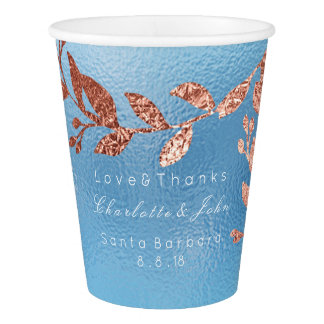 Sky Blue Frozen Glass Pink Rose Brush Faux Gold Paper Cup
