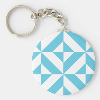Sky Blue Geometric Deco Cube Pattern Key Chain