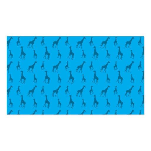 Sky blue giraffe pattern business card templates