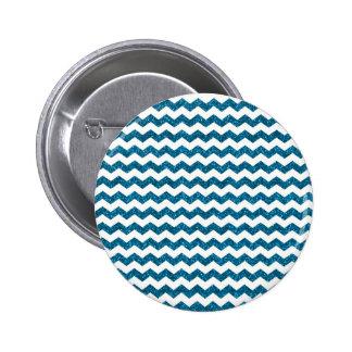 Sky blue glitter chevrons 6 cm round badge