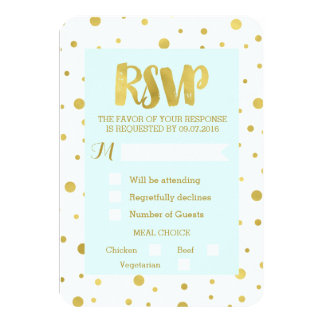 Sky Blue Gold Confetti RSVP Wedding Card 9 Cm X 13 Cm Invitation Card