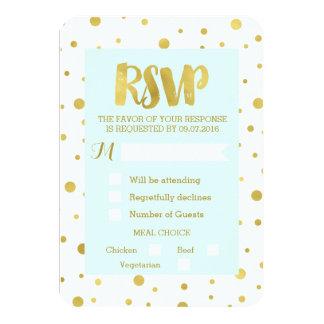 Sky Blue Gold Confetti RSVP Wedding Card 9 Cm X 13 Cm Invitation Card