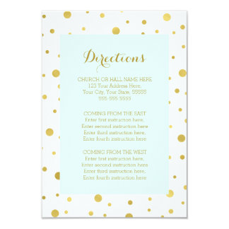Sky Blue Gold Confetti Wedding Direction Insert 9 Cm X 13 Cm Invitation Card