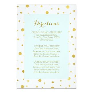 Sky Blue Gold Confetti Wedding Direction Insert 9 Cm X 13 Cm Invitation Card