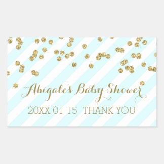 Sky Blue Gold Stripes Baby Shower Favor Sticker