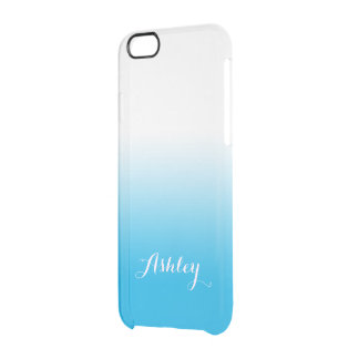 Sky Blue Gradient Ombre Watercolor Transparent Clear iPhone 6/6S Case