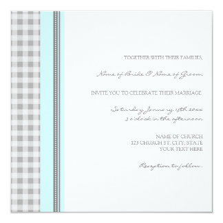 Sky Blue Gray Gingham Wedding Invitation Cards
