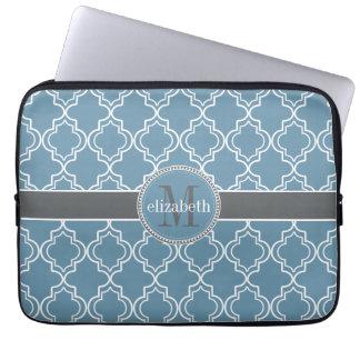 Sky Blue Gray White Moroccan Quatrefoil Monogram Laptop Computer Sleeve