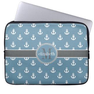 Sky Blue Gray White Ship Anchors Monogram Laptop Sleeve