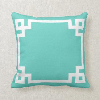 Sky Blue Greek Key Pillow
