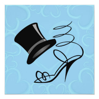 Sky Blue Hearts Top Hat and High Heels Invitations