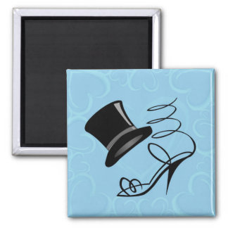 Sky Blue Hearts Top Hat and High Heels magnet