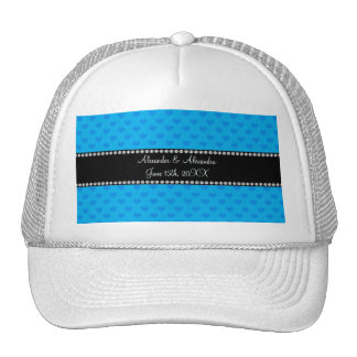 Sky blue hearts wedding favors trucker hats