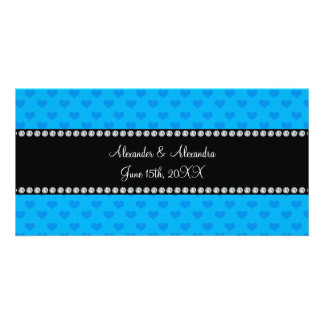 Sky blue hearts wedding favors picture card