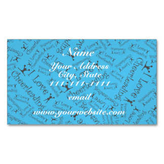Sky blue I love cheerleading Magnetic Business Cards (Pack Of 25)
