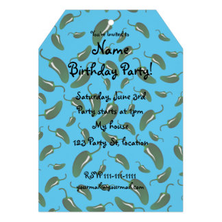 Sky blue jalapeno peppers pattern personalized invitations