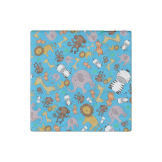 Sky blue jungle safari animals stone magnet