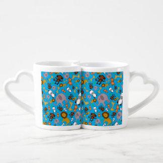 Sky blue jungle safari animals couple mugs