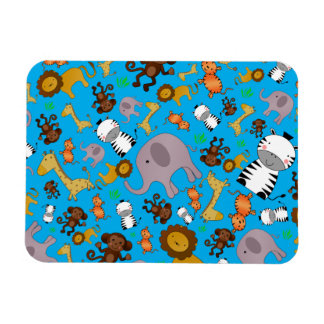 Sky blue jungle safari animals rectangular magnets