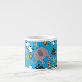 Sky blue jungle safari animals espresso mug