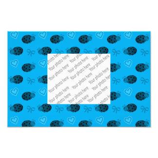 Sky blue ladybugs hearts bows pattern photo print