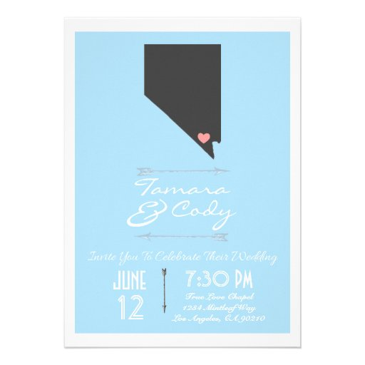 Sky Blue Las Vegas, Nevada Wedding Invitation