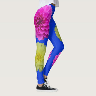 Sky Blue Leggings with Pink and Yellow Dahlias